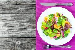 Salade met kippenborst en gemengde slabladeren, hoogste mening royalty-vrije stock afbeeldingen