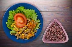 Salade met kippenmagen met wortelen en graan en salade op a Royalty-vrije Stock Afbeelding