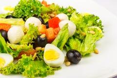 Salade met kwartelseieren en peper Royalty-vrije Stock Foto's