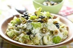 Salade met olijven en selderie royalty-vrije stock foto