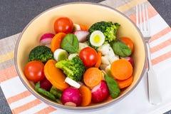 Salade met plantaardige mengeling, preien en radijs royalty-vrije stock afbeeldingen