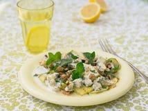 Salade met pompoen, schimmelkaas, okkernoten en yoghurtvulling Stock Foto's