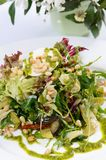 Salade met rucola en pijnboomnoten Stock Foto's