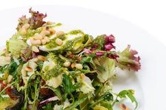 Salade met rucola en pijnboomnoten Stock Afbeeldingen