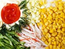 Salade met suikermaïs Stock Afbeelding