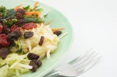 Salade met tomatenrozijnen en vork Royalty-vrije Stock Afbeelding