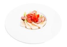 Salade met vers kruidmengeling en bacon royalty-vrije stock afbeeldingen