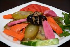 Salade, met voorgerecht in witte plaat Royalty-vrije Stock Fotografie