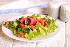 Salade met zalm royalty-vrije stock afbeelding