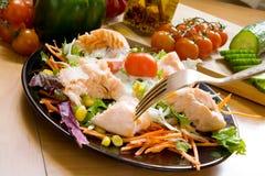 Salade met zalm royalty-vrije stock afbeeldingen