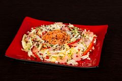 Salade met zalm en garnaal stock afbeeldingen