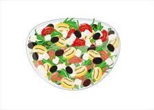 Salade mixte avec les tomates, les olives, la fusée et le che jaunes et rouges Photo libre de droits