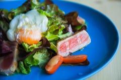 Salade Nicoise d'un plat bleu avec l'oeuf poché Photo libre de droits