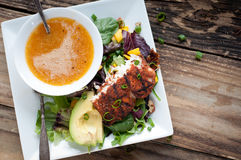 Salade noircie d'été de Mahi Mahi Photographie stock libre de droits