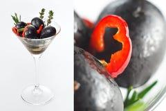 Salade olive dans une glace Photographie stock libre de droits