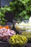 Salade Olivier - ingrediënten Royalty-vrije Stock Foto's