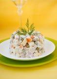 Salade Olivier. Plantaardige Salade. Royalty-vrije Stock Foto's