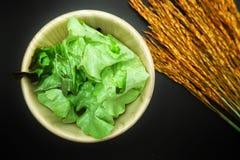 Salade op houten schotel op katoenen witte achtergrond Stock Afbeelding