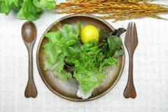 Salade op houten schotel op katoenen witte achtergrond Stock Fotografie
