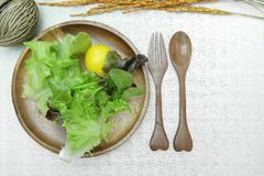 Salade op houten schotel op katoenen witte achtergrond Stock Afbeeldingen