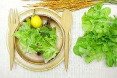 Salade op houten schotel op katoenen witte achtergrond Stock Foto