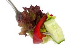 Salade op vork Royalty-vrije Stock Afbeeldingen