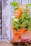 Salade pos?e dans un pot avec les mandarines, le radis, les feuilles de laitue, la carotte et le habillage photos libres de droits