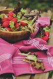 Salade rougeâtre et verte de ferme de croissance fraîche de maison dans le plat en bois photographie stock libre de droits