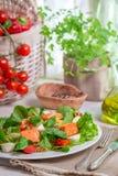 Salade saine avec des saumons Image libre de droits