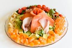 Salade saine de Japonais de sashimi Photos stock