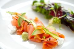 Salade saumonée fumée Photos libres de droits