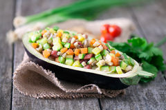 Salade servie dans la coquille de l'aubergine Photographie stock libre de droits