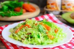 Salade simple d'abbage de  de Ñ avec l'avocat Avocat à la maison de salade de choux, abricots secs, arugula et sésame d'un plat  Photos stock