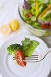 Salade sur la fourchette images stock