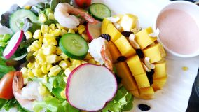 Salade tropicale de crevettes de mangue Photo stock