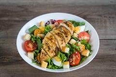 Salade végétale avec de la viande rôtie de poulet Photos libres de droits