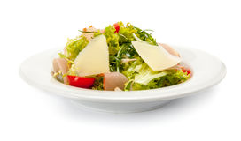 Salade végétale avec du jambon, le parmesan et les tomates-cerises Photographie stock