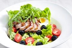 Salade végétale avec le sein de canard frit Images libres de droits