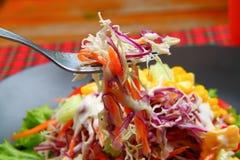 Salade végétale de mélange avec du maïs, chou rouge Photographie stock libre de droits