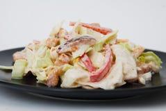 Salade végétale russe fraîche préparée avec la mayonnaise Plaque noire D'isolement sur le fond blanc image stock