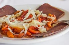 Salade Valencian d'esgarrat avec la morue et le mojama traités Photographie stock libre de droits