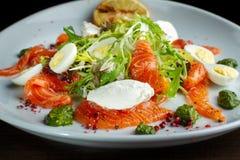 Salade van eieren, greens en forel stock foto's
