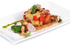 Salade van gebakken aubergines en peper Royalty-vrije Stock Foto's