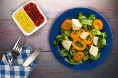 Salade van kaas, sla, graan, peper op een houten achtergrond V Royalty-vrije Stock Afbeelding