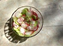 Salade van komkommers en radijzen wordt gemaakt die royalty-vrije stock fotografie