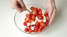 Salade van mozarella en kersentomaten stock footage