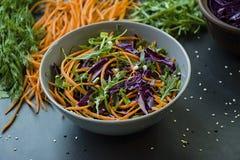 Salade van rode kool, wortelen en greens Verfraaid met gesneden groenten en kruiden Scherpe stroken Donkere achtergrond stock fotografie