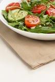 Salade van ruccola, kersentomaten en komkommer stock foto's