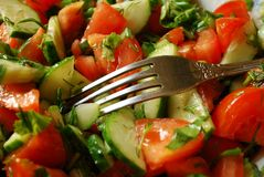 Salade van Tomaten en Komkommers Stock Afbeeldingen