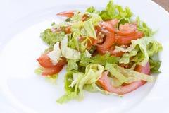 Salade van tomaten en sla Royalty-vrije Stock Foto's